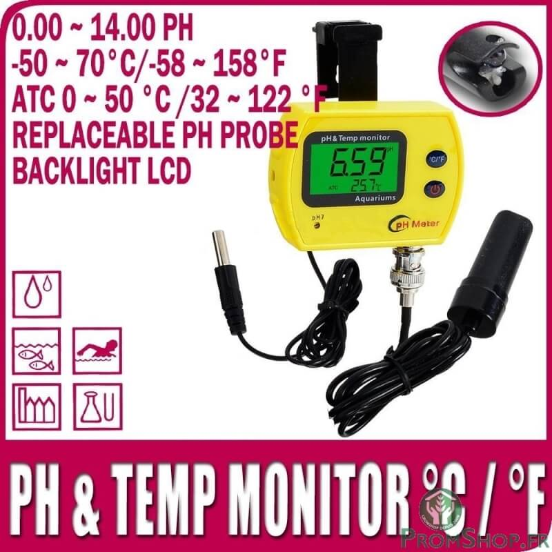 Testeur ph et temp rature affichage lcd for Temperature piscine